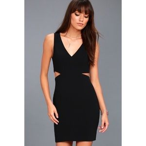 Lulus Black Mini Side Cut Out Bodycon Dress L